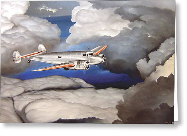 Crossing Over  Amelia Earharts Final Flight Greeting Card by Marc Stewart