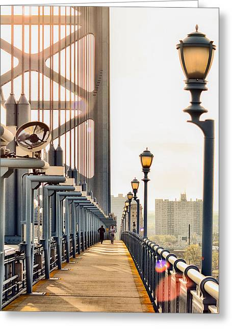 Crossing The Benjamin Franklin Bridge Greeting Card