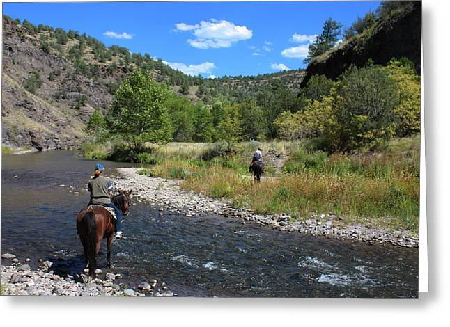 Crossing The Gila On Horseback Greeting Card