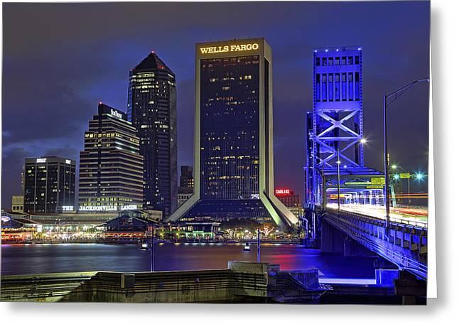 Crossing The Main Street Bridge - Jacksonville - Florida - Cityscape Greeting Card