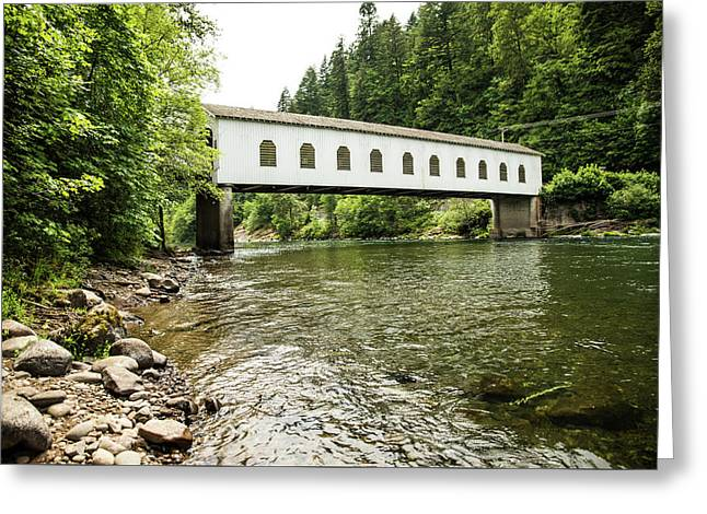 Crossing The Mckenzie River Greeting Card