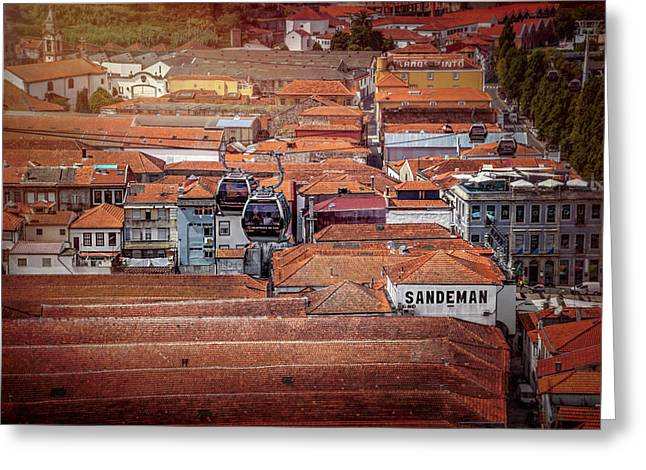 Crossing The Red Rooftops Of Porto Portugal  Greeting Card
