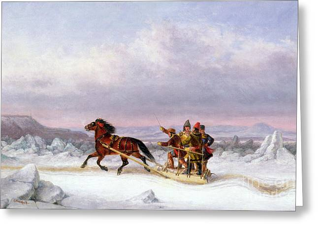 Burden Greeting Cards - Crossing the Saint Lawrence from Levis to Quebec on a Sleigh Greeting Card by Cornelius Krieghoff