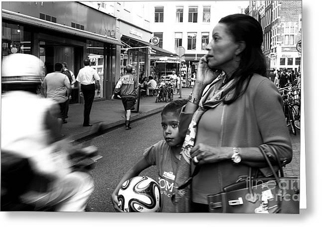 Crossing The Street Mono Greeting Card by John Rizzuto