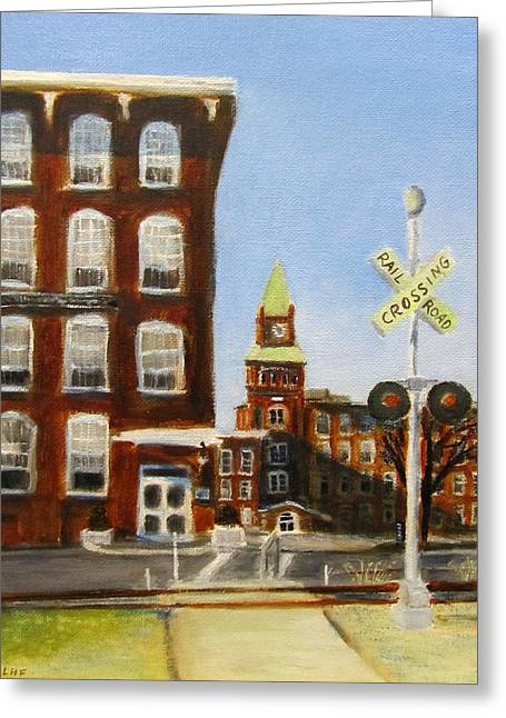 Greeting Card featuring the painting Crossing The Tracks by Linda Feinberg