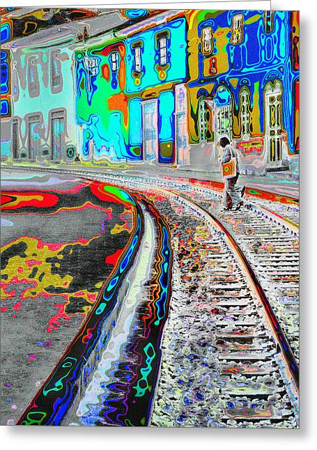 Crossing The Tracks Greeting Card
