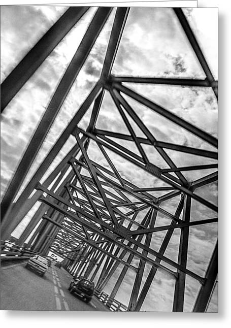 Greeting Card featuring the photograph Crossing Through The Chesapeake Bay Bridge by T Brian Jones