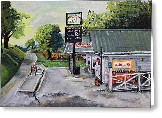 Greeting Card featuring the painting Crossroads Grocery - Elijay, Ga - Old Gas And Grocery Store by Jan Dappen