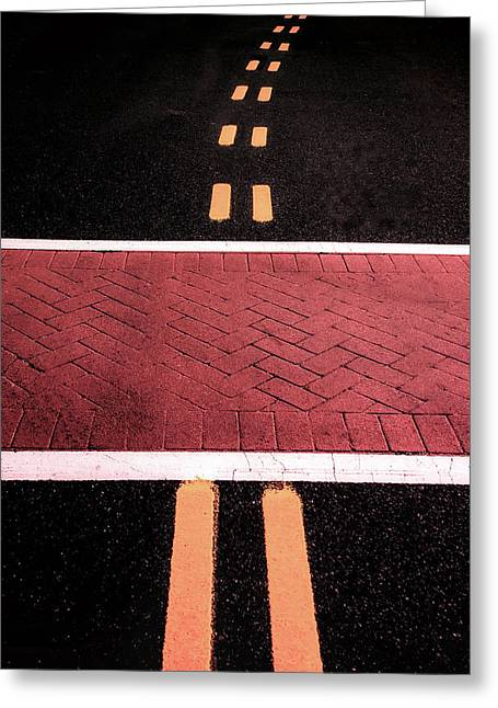 Crosswalk Conversion Of Traffic Lines Greeting Card