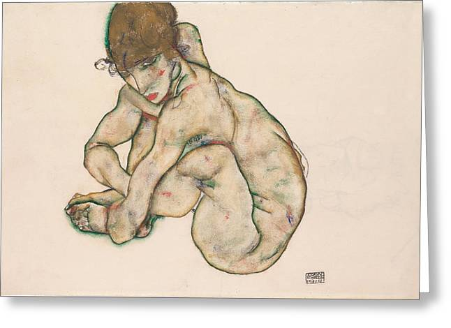 Crouching Nude Girl 1914 Greeting Card by Egon Schiele