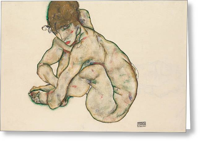 Crouching Nude Girl Greeting Card by Egon Schiele
