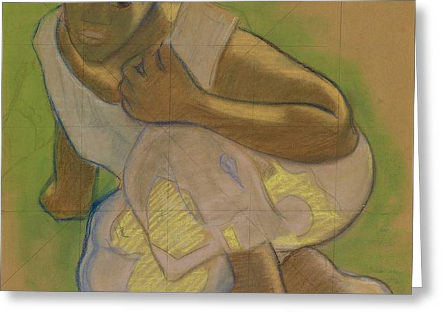 Crouching Tahitian Woman Greeting Card by Paul Gauguin