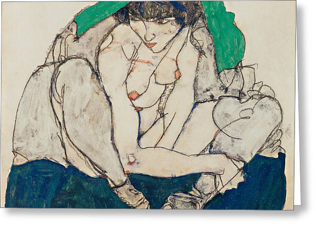 Crouching Woman With Green Headscarf 1914 Greeting Card by Egon Schiele