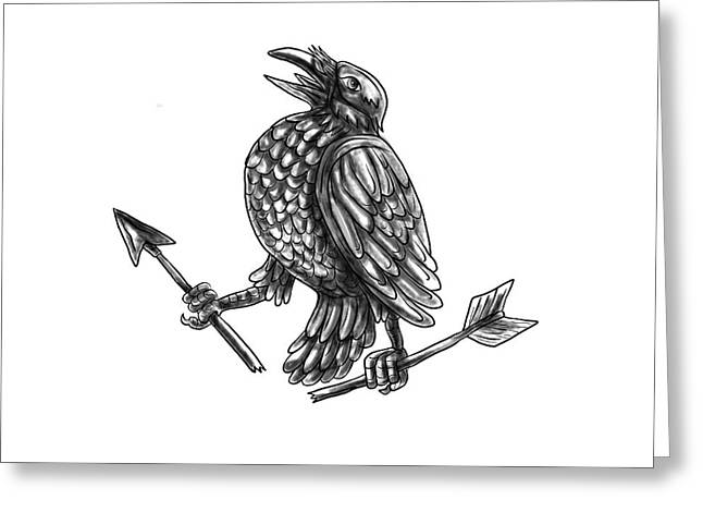 Crow Clutching Broken Arrow Tattoo Greeting Card by Aloysius Patrimonio