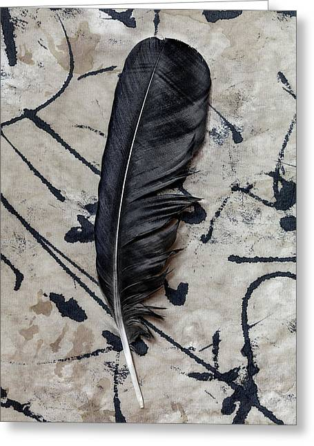 Crow Feather Midnight Black Greeting Card