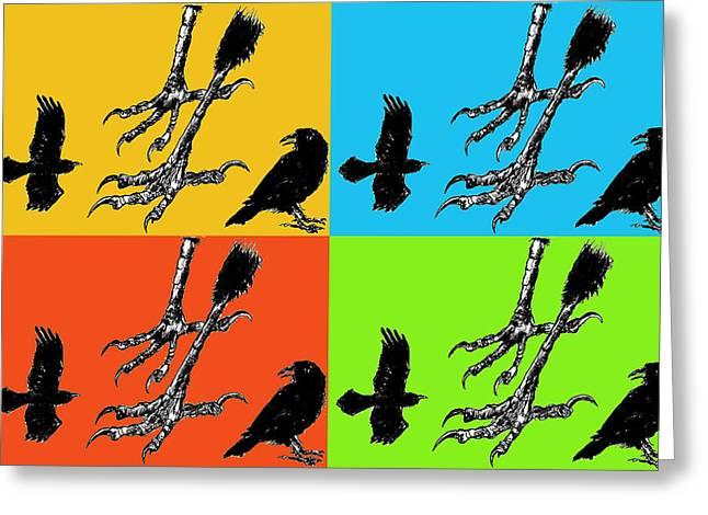 Crow Feet Four Greeting Card by Diana Ludwig