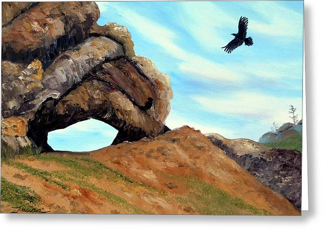 Crow Flying By Window Rock Greeting Card by Laura Iverson