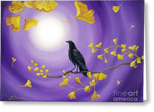 Crow In Ginkgo Leaves Greeting Card by Laura Iverson