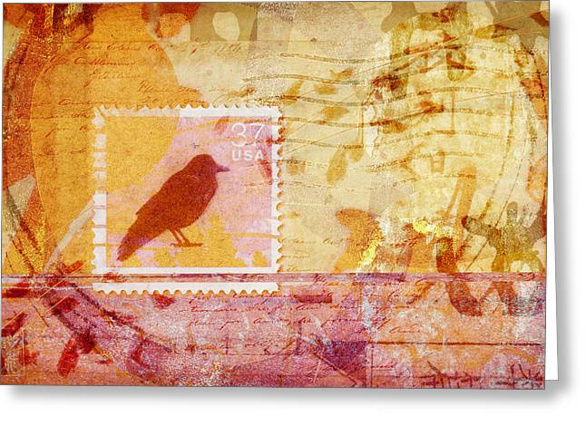 Crow In Orange And Pink Greeting Card by Carol Leigh