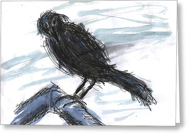 Crow In The Wind Greeting Card by Kevin Callahan
