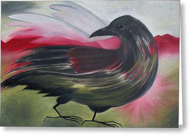 Crow Greeting Card by Karen MacKenzie