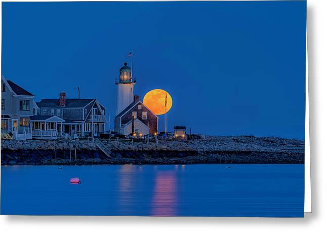 Crow Moon Over Old Scituate Light Greeting Card