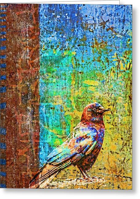 Crow Of Many Colors Greeting Card by Carol Leigh