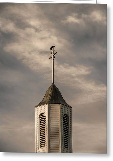 Greeting Card featuring the photograph Crow On Steeple by Richard Rizzo