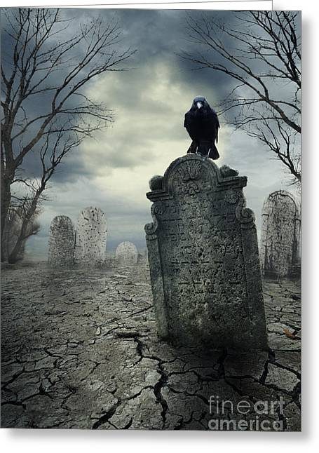 Crow On The Tombstone Greeting Card