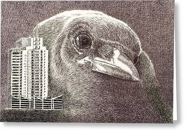 Crow Over Casino Windsor Greeting Card