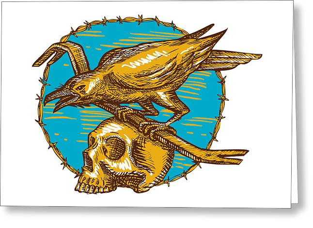 Crow Perching Crowbar Skull Barbed Wire Drawing Greeting Card by Aloysius Patrimonio