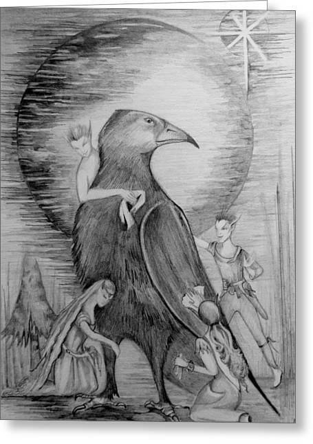 Crow Greeting Card by Rachel Henderson