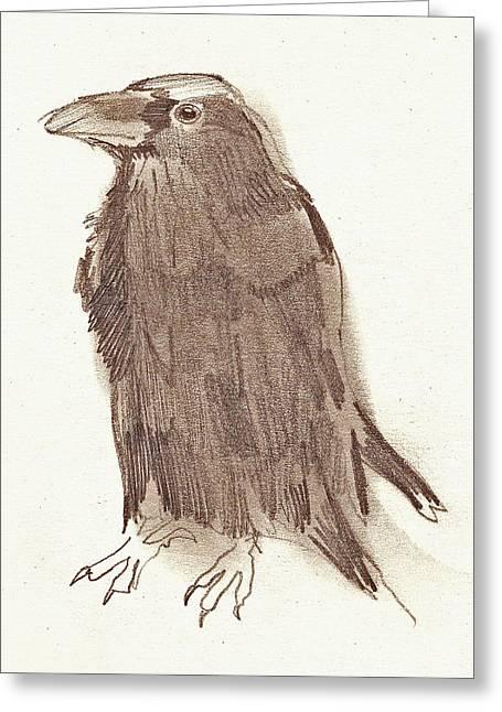Crow Greeting Card by Sarah Lane