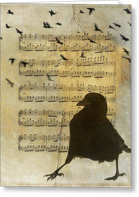 Crow Strut Music Sheet Greeting Card