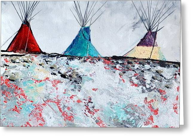 Crow Tipis Greeting Card by Tanya Nevin