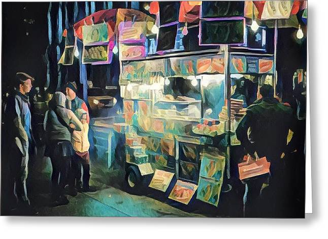 Crowd Around Food Cart At Night Greeting Card by Amy Cicconi