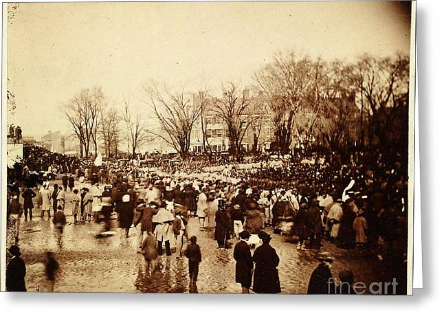 Crowd At Lincoln's Second Inauguration Greeting Card by Celestial Images