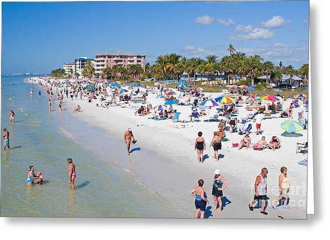 Crowd On A Summer Beach In Ft Meyers Florida Greeting Card
