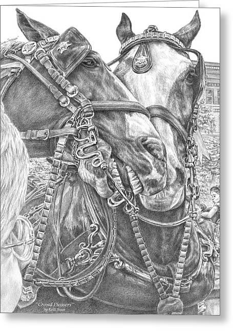 Team Drawings Greeting Cards - Crowd Pleasers - Clydesdale Draft Horse Art Print Greeting Card by Kelli Swan