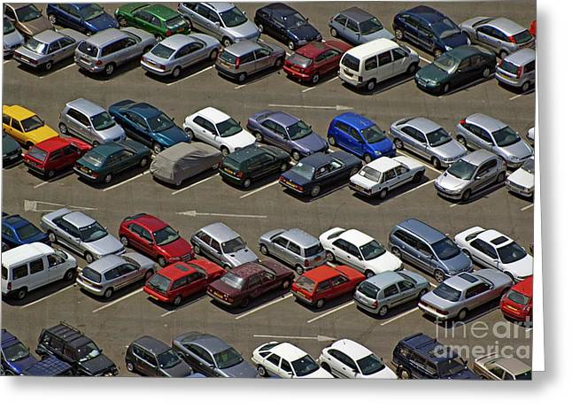 Crowded Carpark Full Of Cars Greeting Card by Sami Sarkis