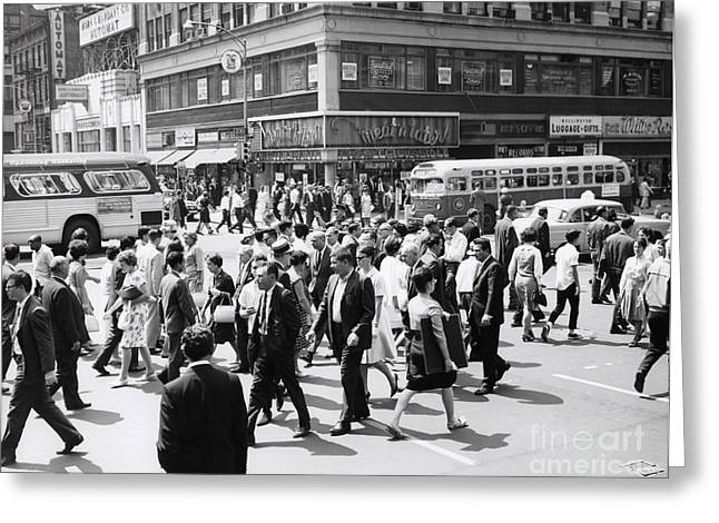 Crowded Street, Nyc, C.1960s Greeting Card by H. Armstrong Roberts/ClassicStock