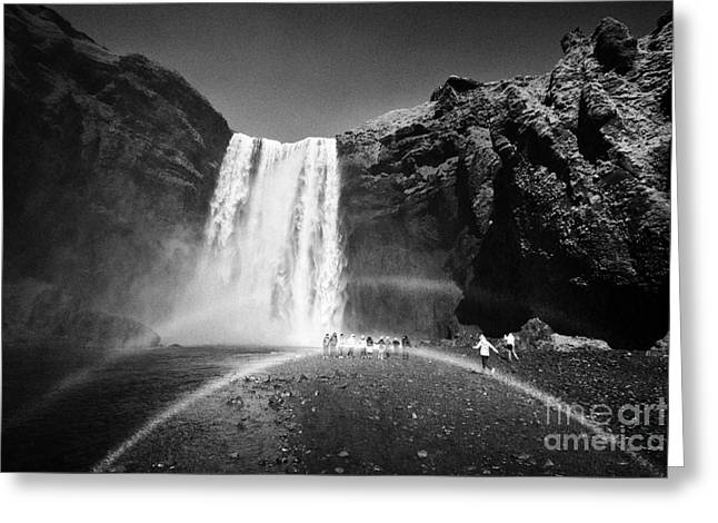 Crowds Of Tourists With Double Rainbow At Skogafoss Waterfall In Iceland Greeting Card