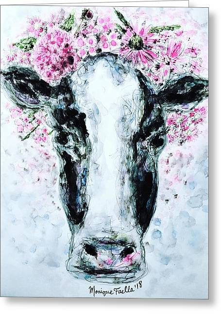 Crown Of Flowers Cow Greeting Card