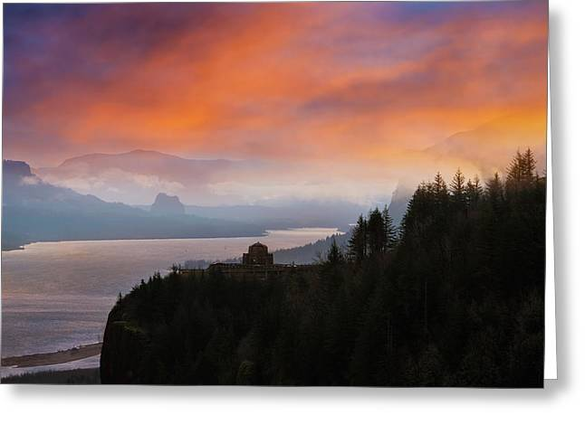 Crown Point At Columbia River Gorge During Sunrise Greeting Card