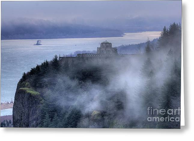 Crown Point Vista House Fog Columbia River Gorge Oregon Greeting Card
