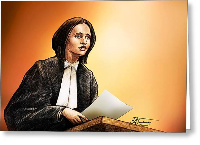 Trial Drawings Greeting Cards - Crown Stephanie Venne reads Daryns statement at the Raffertys sentencing Greeting Card by Alex Tavshunsky