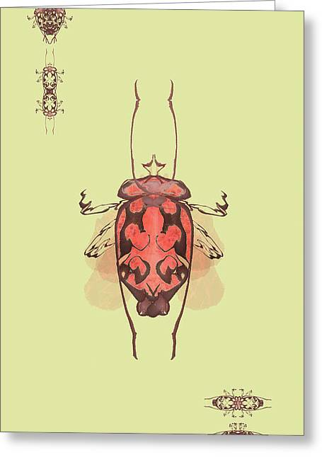 Crowned Horn Bug Specimen Greeting Card