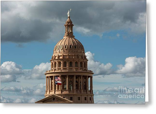 Crowning The Dome Of The Texas State Capitol Stands The Goddess  Greeting Card by Herronstock Prints