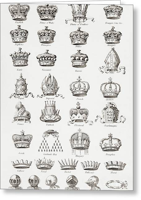 Crowns, Coronets And Helmets Greeting Card