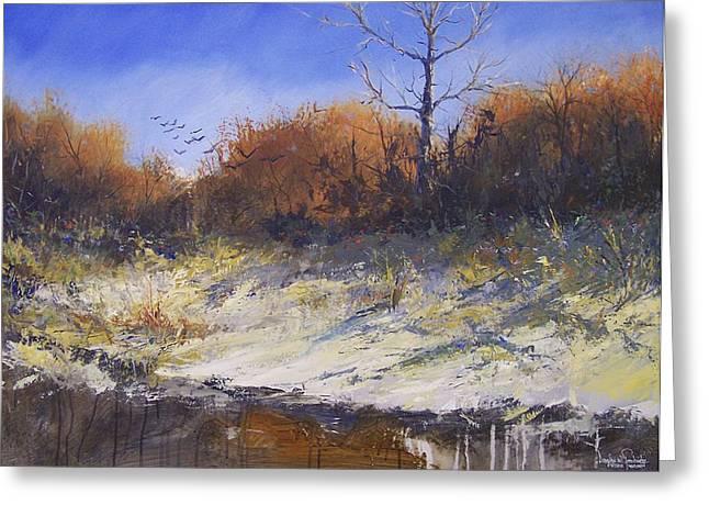 Crows Along The Cottonwood Greeting Card by Douglas Trowbridge